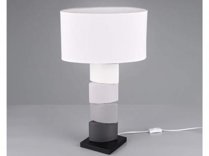 Große Tischleuchte 1 flammig Keramikfuß mehrfarbig weißer Stoffschirm Höhe 60cm