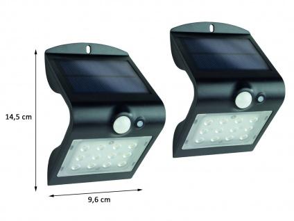 2er SET LED Solar Wandleuchte Außenleuchte MINI Fassadenbeleuchtung Schwarz