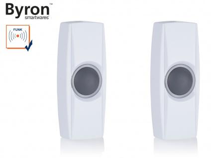 2Stk beleuchtete Funk Klingeltaster weiß für drahtlos Türklingeln Byron BY-Serie