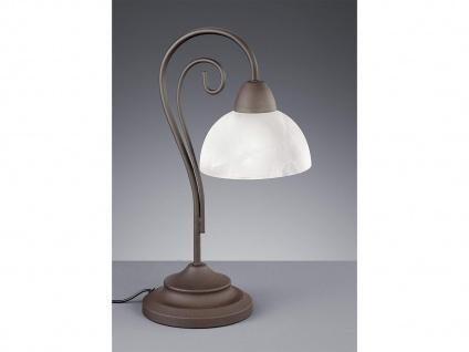 LED Tischleuchte 1 flammig Metall rostfarbig Glasschirm Alabaster Höhe 40cm