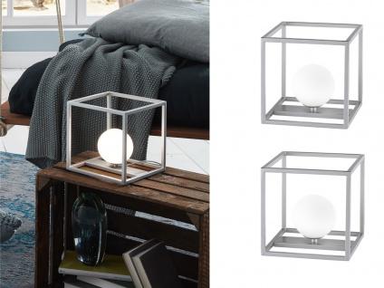 DESIGN LED Kugel Nachttischleuchte 2er Set Nickel matt mit Glasschirm Opalweiß