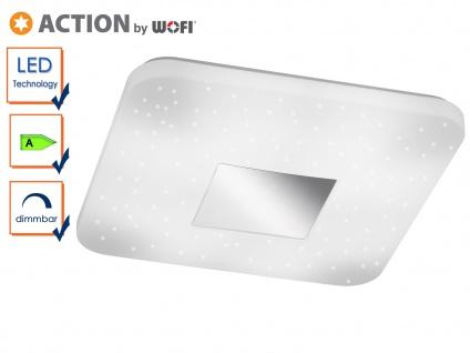 Quadratische LED Deckenleuchte mit Sternhimmel-Effekt, 33 x 33cm, Schlafzimmer