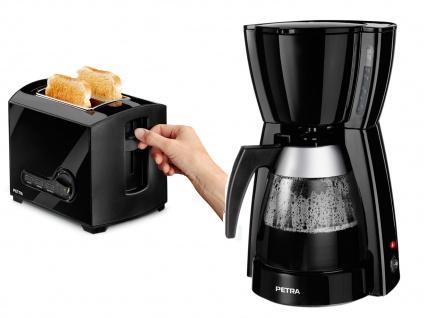 Elegante schwarze Kaffeemaschine + black Toaster im Set, Filterkaffee Kaffee
