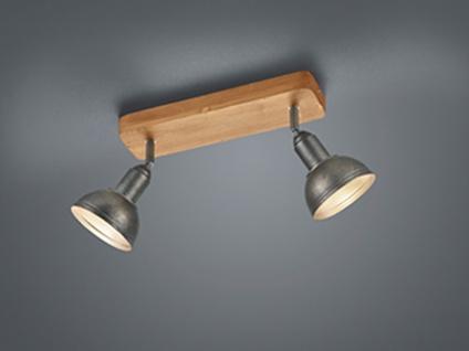 Retro Spot Deckenstrahler mit zwei schwenkbaren Antik Look Metallschirmen & Holz