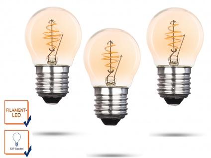3x LED Leuchtmittel Globe 3 Watt 150 Lumen 2000 Kelvin E27-Sockel Filament LED