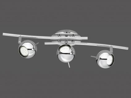 Moderner Deckenbogen Chrom, 3 x GU10, Länge 55cm, Spot Ø 8 cm