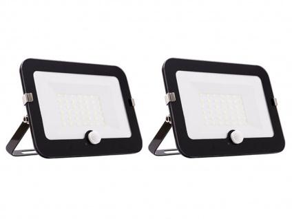 2er Set 30W LED Strahler schwarz, Fluter mit Bewegungsmelder, flaches Design