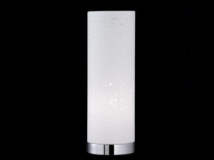 Kleine Tischlampe E14 Chrom mit Lampenschirm Stoff weiß, Nachttischlampe Design - Vorschau 3