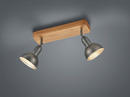 LED Deckenstrahler zweiflammig Industrial, Retro, Vintage Lampe Holzbalken Innen