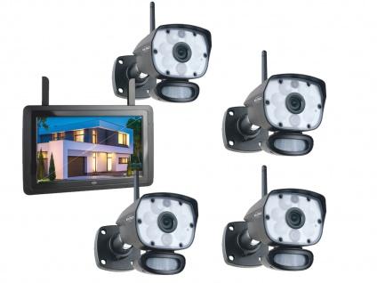 Überwachungskamera Komplettset 4 Kameras + 9Zoll Monitor, Handy Überwachungs App