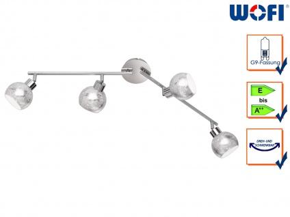 Design Deckenleuchte 4 Spots drehbar Silber G9, Wohnraumleuchte Dielenlampen