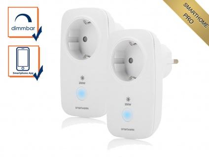 Dimmbare Smarthome PRO Zusatz Funksteckdosen 2er Pack - Lampen per App steuern