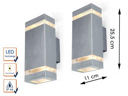 2er Set Edelstahl LED Außenwandleuchte IP44 H. 25, 5cm eckig Fassadenbeleuchtung