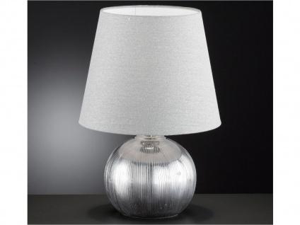 Keramik Tischleuchte 43cm Lampenschirm Stoff grau silber, Tischlampe klassisch