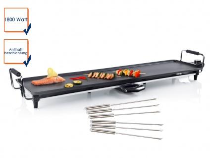 Teppan Yaki Grill XXL Bratplatte antihaftbeschichtet 1800W + 6 Teppanyaki Gabeln