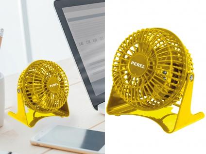 Kleine DESIGN Tischlüfter in Gelb - 2 mobile leise Schreibtischlüfter fürs Büro