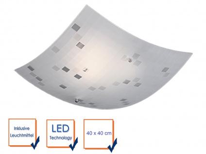 LED Deckenschale 40x40cm, Lampenschirm Glas satiniert in weiß, grau gemustert - Vorschau 3