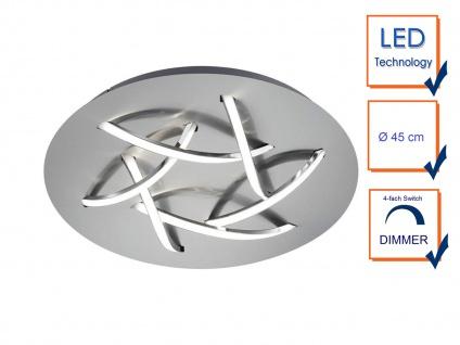 Ausgefallene LED Schlafzimmerleuchte Ø 45cm Nickel matt/weiß mit Switch Dimmer - Vorschau 3