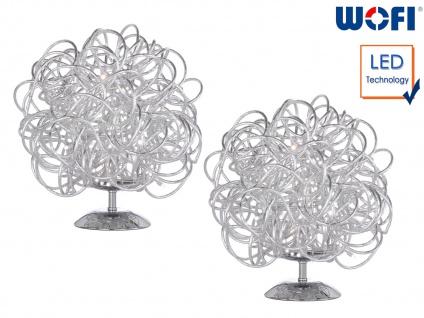 2x LED Tischleuchte Silber H. 27cm Kugelform Wohnraumleuchten Lampen Dekoleuchte