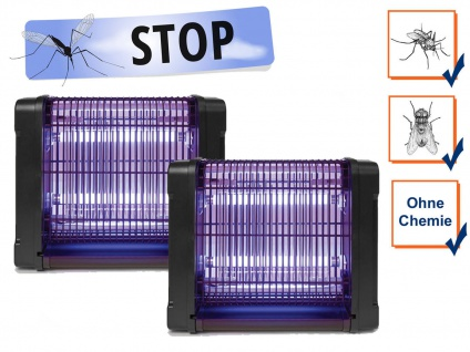 2er Set Insektenvernichter 360°, Stechmückenfallen mit UV Licht, Bereich je 30m²