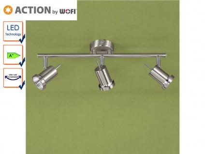 3-flg. LED Deckenleuchte Nickel, Spots schwenkbar, Action by Wofi
