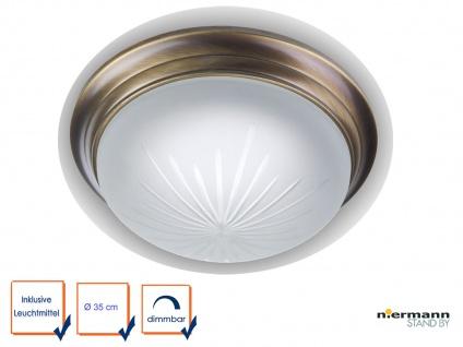 LED Decken Leuchte rund Ø35cm Schliffglas, Altmessing gewölbt LED Wandlampe