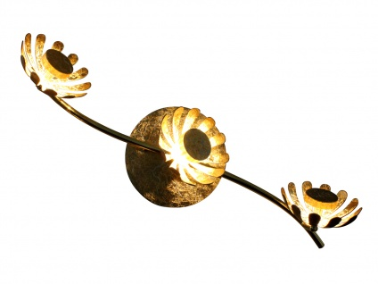 Dreiflammige florentiner Blumen Motiv LED Deckenleuchte aus Metall in Blattgold - Vorschau 2