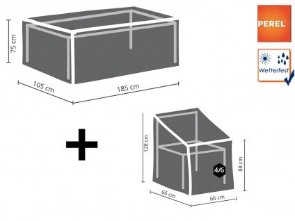 Schutzhüllen Set für Gartentisch max. 180cm + 4-6 Stühle, Abdeckung Gartenmöbel