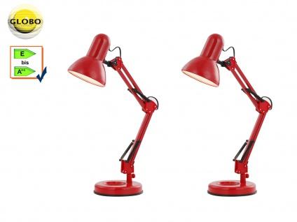 2 Stk. Globo Schreibtischlampe FAMOUS rot, beweglich, Lampe Leuchte Schreibtisch