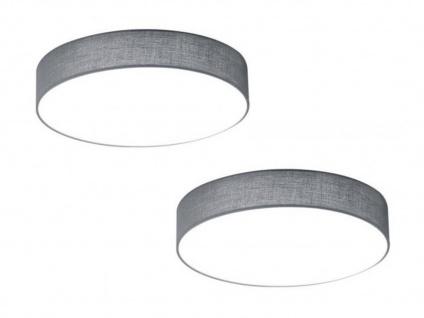 2er Set Trio LED Deckenleuchten 30cm Stoff grau, Flurlampen Wohnzimmerlampen