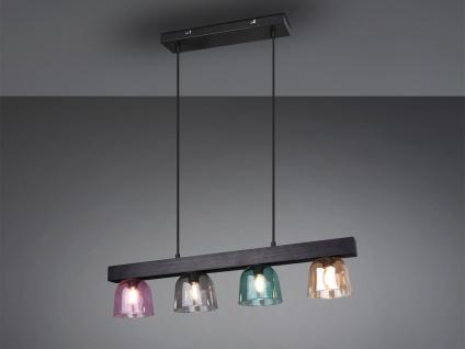 Naturholz LED Pendelleuchte schwarz mit 4 Rauchglas Lampenschirmen für Esszimmer