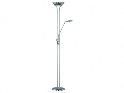 Moderne LED Standlampe mit Deckenfluter und flex Lesearm DIMMBAR Nickel matt