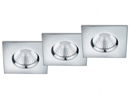 LED Einbaustrahler Decke 3er Set eckig dimmbar Chrom glänzend 5, 5W Deckenleuchte
