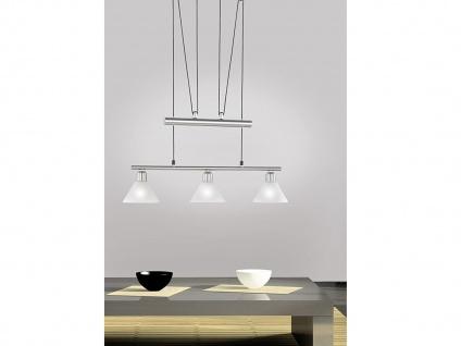 Höhenverstellbare Pendelleuchte 3flammig mit Lampenschirm Glas für über Esstisch