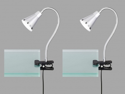 2er SET LED Klemmlampen flexibel Schwanenhalsleuchten silber Schreibtischlampen