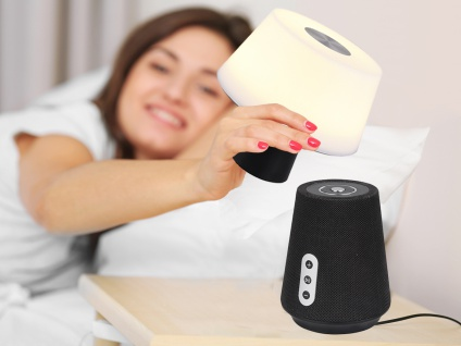 TOUCH Nachttischlampe mit Bluetooth Lautsprecher Musik LED Licht Akku ohne Kabel
