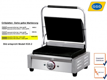 Profi Edelstahl Kontaktgrill 2800W Platten glatt, Gastro Elektro Panini Grill