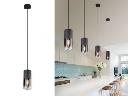 Einflammige LED Rauchglas Pendelleuchte Hängelampe Industrial für über Kochinsel