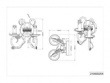 Rostfarbige Wandleuchte mit Antik Look Blätter Motiv, E14 Kerzenfassungen Metall - Vorschau 4