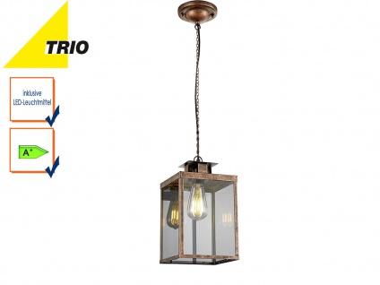 Vintage Pendelleuchte eckig Design Kupfer antik, Glas klar, mit Filament LED