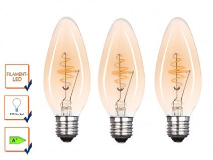 3x LED Leuchtmittel 3 Watt, 150 Lumen, 2000 Kelvin, E27-Sockel, Filament LED