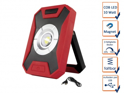 Stabiler Baustrahler 10W COB LED, Magnetfuß Akku Powerbank & USB Ladekabel IP44