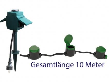 Garten Verlängerungskabel 10 Meter + Gartensteckdose mit Dämmerungssensor