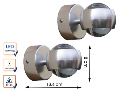 2 Design Außenwandleuchte Edelstahl LED H.8cm IP44 Up- & Downlight Wegeleuchten