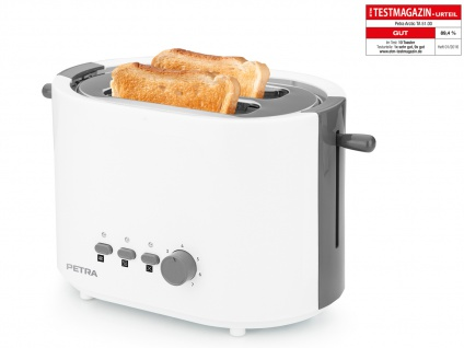 Moderner Toaster Arktisch Weiß von PETRA inklusive Brötchenaufsatz 800 Watt