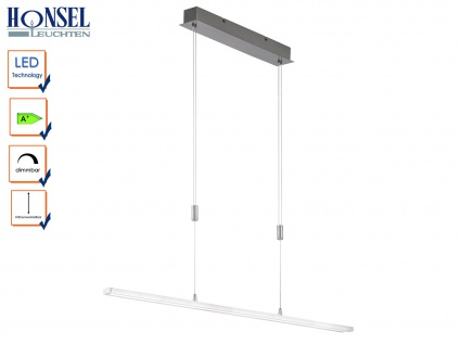 LED Pendelleuchte Hängelampe Lampe Nickel matt Acryl weiß B. 114 cm TURN