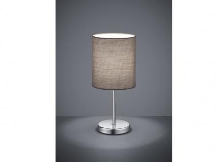 Klassische LED Tischleuchte 1 flammig Chrom Stoffschirm in Grau, 28cm hoch