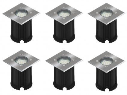 6er-Set LED-Bodeneinbaustrahler Outdoor, eckig befahrbar 800 kg IP65