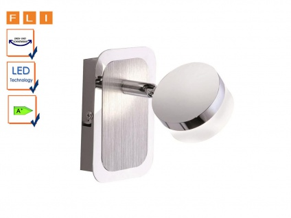 LED-Wandleuchte, Wandspot schwenkbar, Acrylglas satiniert, FLI-Leuchten