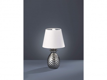 LED Tischleuchte Keramik Ananas Style mit Stofflampenschirm Ø20cm Silber/Weiß